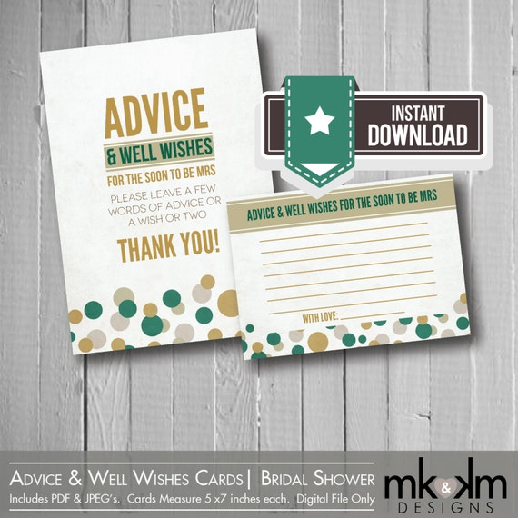 Advice & Well Wishes Cards:Confetti Bridal Shower-Advice