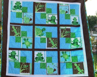 Lizards, Turtles and Frogs Boy Quilt