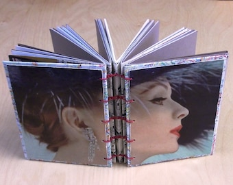 Mixed Paper Art Journal, New York City theme, Fancy 1950s Lady, pocket size