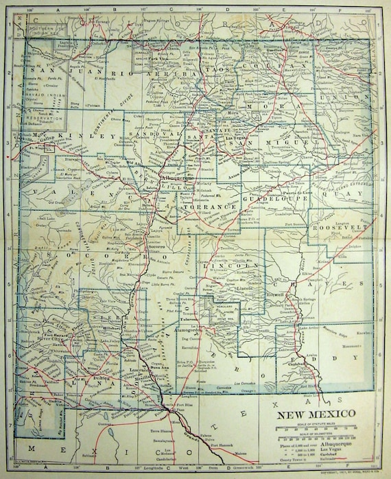 1907 Map New Mexico Territory Indian Reservations Counties-9371