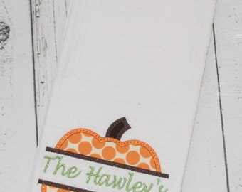 Polka Dot Pumpkin Kitchen Towel