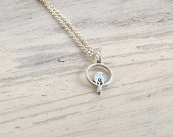 silver necklace, tiny necklace, delicate necklace, petite necklace, tiny pendant, silver bird -818
