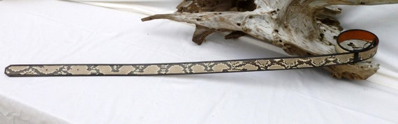 Black inlaid natural python belt