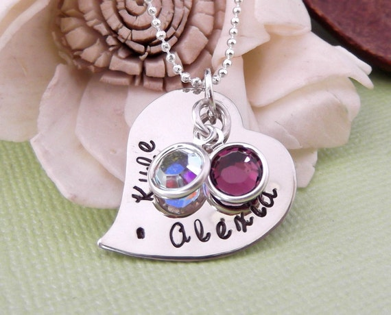 Hand Stamped Personalized Necklace with Birthstones- Mommy Jewelry- Mother Necklace- Mother's Day Gift