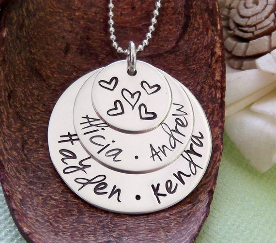 Stacked Personalized Necklace- Grandma Necklace- Hand Stamped Layered Necklace- Mommy Jewelry- Sterling Silver Mother Necklace