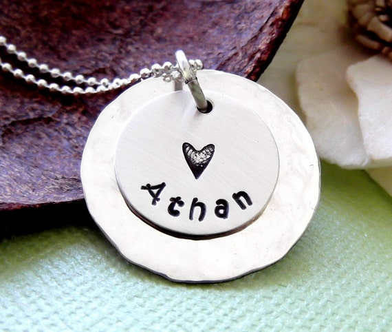 New Mommy Necklace- Hand Stamped Mommy Jewelry- Personalized Mother Necklace- Child Name Necklace- Mother Jewelry