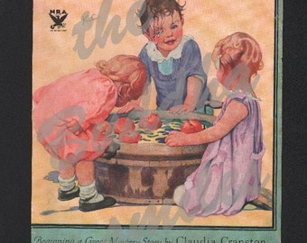 Sale, Vintage Magazine Cover, Good Housekeeping, October 1933, bobbing for apples , 00165