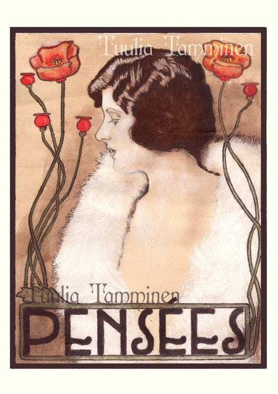 Print reproduction of an original Art Nouveau painting, french poster, Pensées by Tuulia Tamminen - Size A3