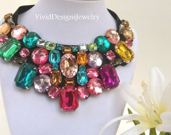 Rainbow Multi color Luxury Rhinestone Bib Bubble Statement Necklace - Chunky Bib Statement Necklace