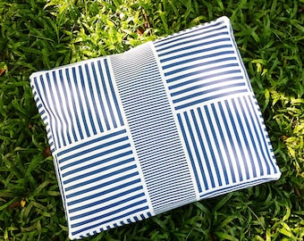 Blue Striped Dog Bed Cover - Machine Washable, Printed Heavy-Weight Cotton