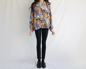 70s Vintage Summer Flowers Hawaii Colorful Adventure Floral Blouse / Shirt