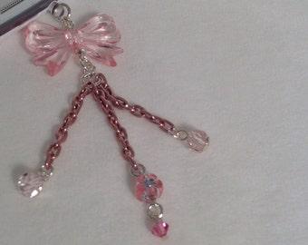 Pretty Pink Acrylic Bow cell phone charm, dust plug charm, iPhone charm, headphone jack charm, iPad plug, galaxy note pad charm, phone charm