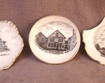 Lot of 3 Antique BUTTER PATS Madison & North Anson Maine