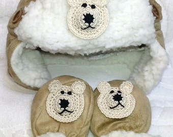 Boys Girls Baby Infant Toddler Tan Faux Suede Fleece Hat and Mitten Set  Bomber - Handmade Bears or Dog - Sizes 0-6, 6-12, 12-18 months