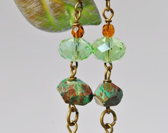Green Paisley Jasper earrings with green crystals and bronze and green cut glass window beads