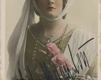 Lily Brayton English actress antique tinted hand signed autographed photo pc