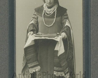 Russian opera singer with bread antique ethnic photo