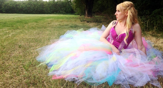 Sherbet Pastel Rainbow Galaxy and White Full Length Long Adult Prom Formal Bridal Tutu Skirt