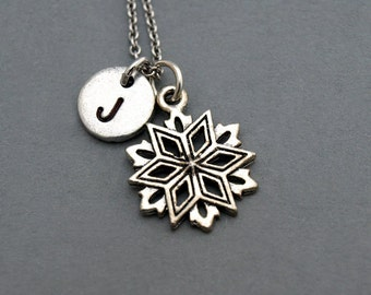 Snowflake necklace, Silver snowflake charm, silver snow flake charm necklace, initial necklace, personalized, monogram