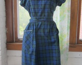 Vintage 1950s Swirl Wrap Dress, patch pockets, blue and green plaid, white thread detail on neckline