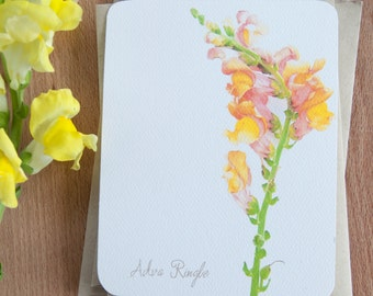 Stationery Set - Yellow Snapdragon  -  Personalized Note Cards
