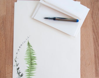 letter writing paper set fern and stalk eco friendly writing set gift for her