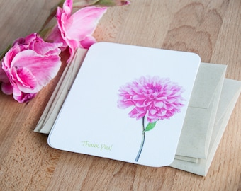 Personalized Stationary Set - Pink Flower -  Eco Friendly Gift for Her - Note Cards