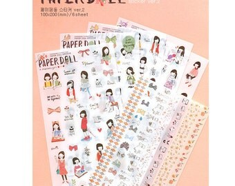 Korean Sticker - Paper Doll Sticker Set - Diary Sticker - PVC Sticker - Filofax - 6 sheets in
