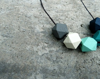 Geometric Wood Necklace // Hand Painted Wooden Faceted // Hedron Necklace - Mint, Aqua, Grey