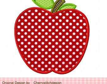 "Apple School Apple Machine Embroidery Applique Design -4x4 5x5 6x6"""