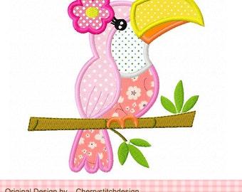 "Flower Toucan embroidery applique -4x4 5x5 6x6"""