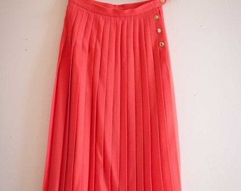 Coral Wool JAEGER Skirt in Coral -  Jaeger  Skirt  -  Pleated Wool Skirt  -  Pink Skirt with Gold Buttons by Jaeger of Scotland  -  UK10