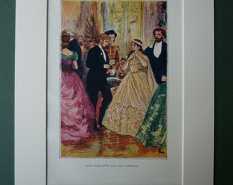 Vintage Print From William Makepeace Thackery's Adventures Of Philip - Illustration - Miss Charlotte - Victorian Society - Matted Print