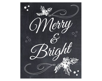Printable merry christmas banner christmas photo prop printable merry and bright chalkboard christmas decor holiday decorations black white solutioingenieria Choice Image