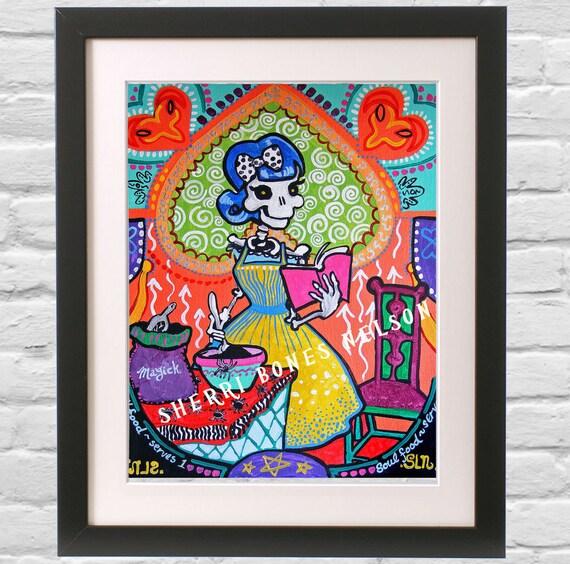 Kitchen Folk Art: Colorful Kitchen Art La Catrina 50s Cook Mexican Folk Art
