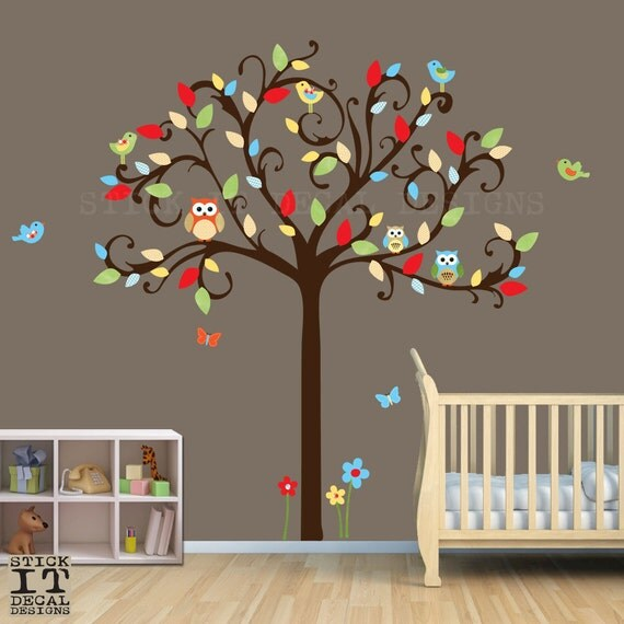 Owl tree decal owl decal owl nursery decor scroll tree