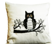 Decorative throw pillows with Owl embroidery- Ivory silk owl pillow - Animal pillow - Sequin cushion -16x16 pillows -  black white pillow