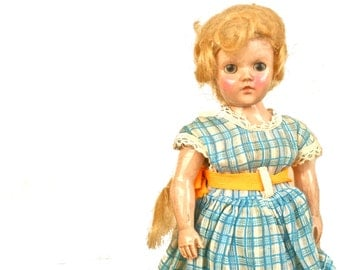 Rare Antique Vintage Duchess Doll Corp. Plastic Doll with Long Blonde Hair in Ponytail