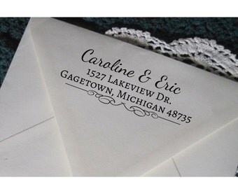 Custom Address Stamp, Wedding Gift Rubber Stamp,  with a wooden handle , Gagetown
