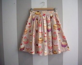 Cupcake Skirt, Summer Beige Skirt, Cotton Pleated Skirt, Made to Order