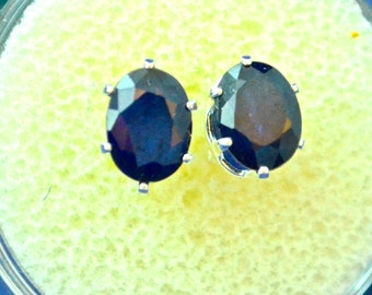 Sapphire Stud Earrings, 7x5 Oval, Natural, Set in Sterling Silver   E452