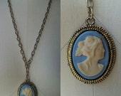 Vintage Sky Blue Cameo Necklace