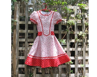 Girls dress sewing pattern CHERRY PIE vintage style girls pdf dress pattern sizes 2 to 10 years by Felicity Patterns