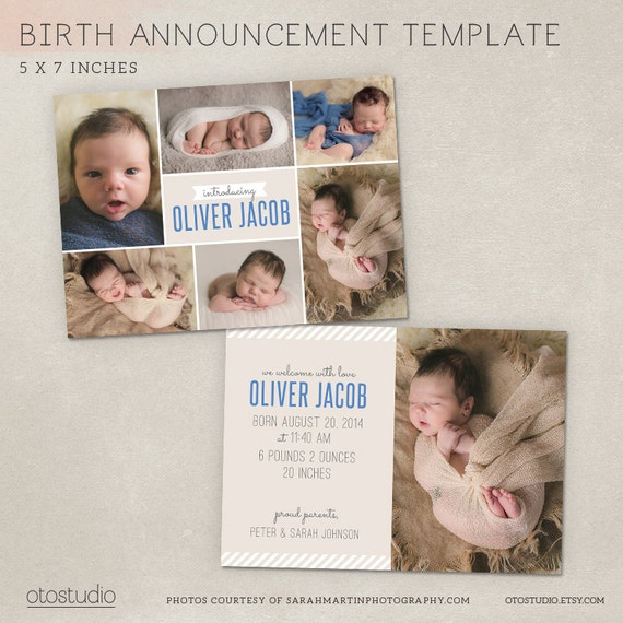 free birth announcement template - birth announcement template photo modern collage cb009 psd