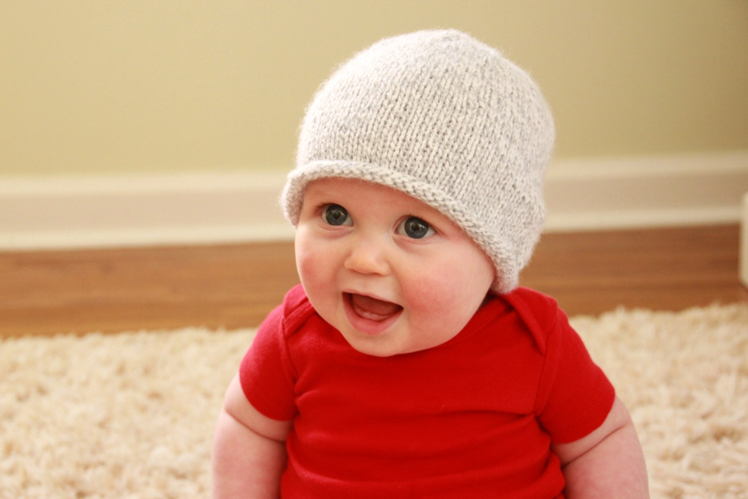 Knitting Pattern For Rolled Brim Baby Hat : Hand Knitted Rolled Brim Baby Hat: Bright Blue or by ...