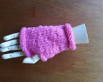 Pink fingerless gloves - pink girls gloves without fingers - hand knit gloves - childrens clothes