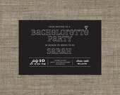 Printable Bachelorette Party Invitation, Black Invite with Diamond Ring Motif for girls night out, bridal shower, cocktail party