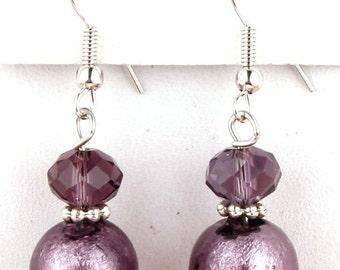 Purple glass earrings- plum, purple,   crystal, earrings, beaded earrings,