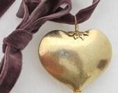 Smooth Gold Vermeil Puffy Heart on Velvet Ribbon