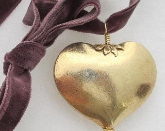 SALE - VALENTINE, Smooth Gold Vermeil Puffy Heart on Velvet Ribbon